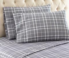 Micro Flannel Printed Sheet Sets - Carlton Plaid Gray
